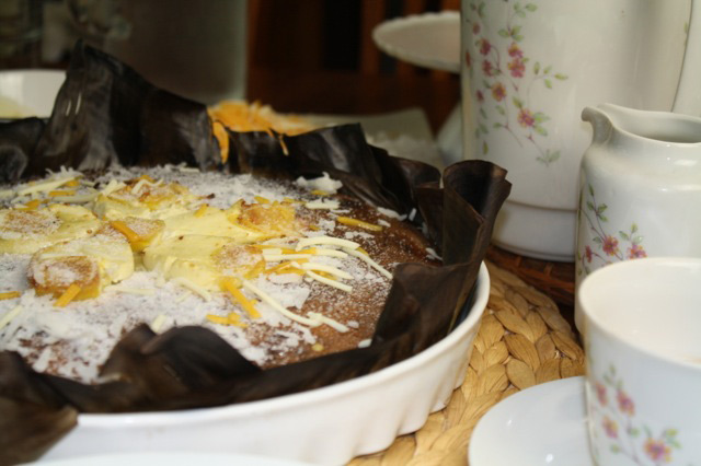 Yana Gilbuena baked a buttery  bibingka  (rice cake) for merienda at the author's home in New Jersey. (Photo by Elizabeth Ann Quirino)