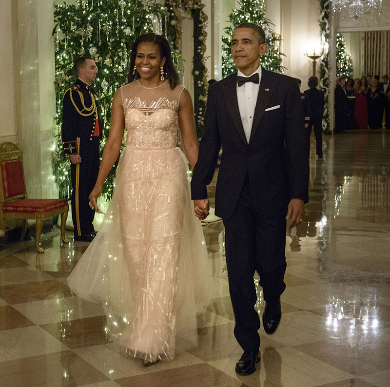 First Lady Michelle Obama in a Monique Lhullier (Brendan Smialowski/AFP/Getty Images)