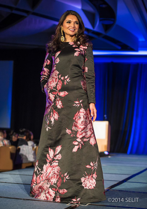 Black with merlot and white floral pattern long sleeve modified A-line long gown (Photo by Selit Rapadas/UNIT ONE Photography Studio)