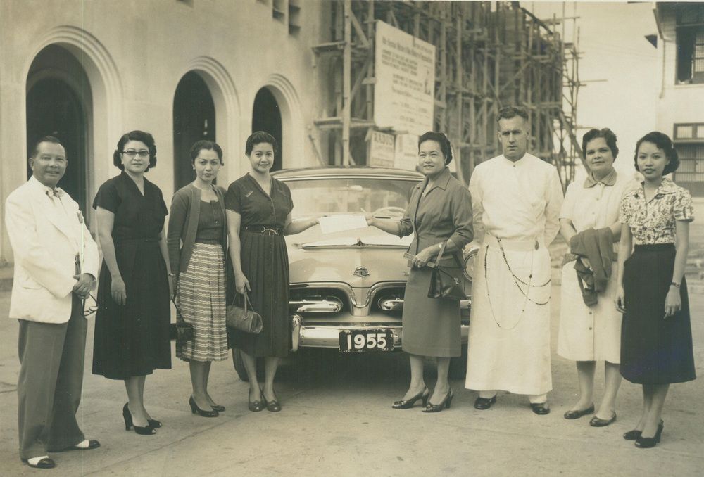 Lulu Reyes Besa, together with Redemptorist priest Fr. Dennis O'Leary, and generous benefactors, helped built the National Shrine of Our Lady of Perpetual Help in Baclaran in 1958. (Photo courtesy of the Lulu Reyes Besa family)