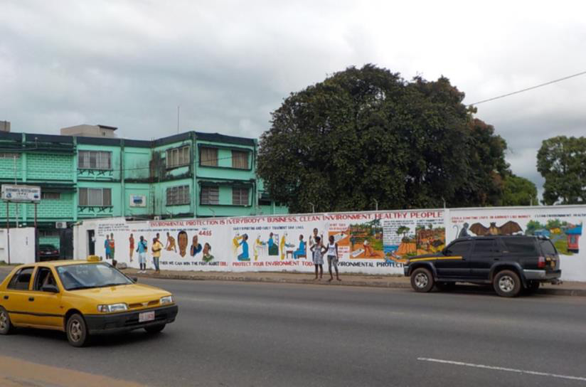 Ebola mural on the wall of the Liberian Environmental Protection Agency (Photo by Dr. Jorge Emmanuel)