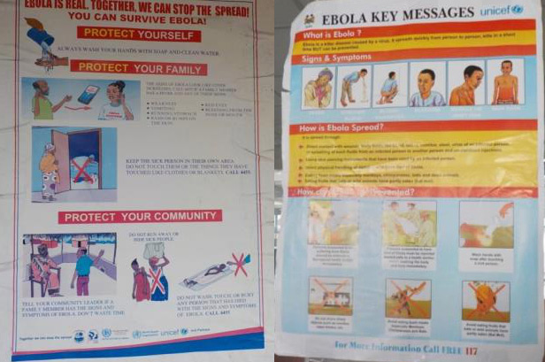 Ebola posters found all over Monrovia (left) and Freetown (right) (Photo by Dr. Jorge Emmanuel)