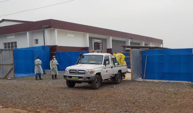The Red Cross/Red Crescent vehicle which took care of victims who passed away from Ebola (Photo by Dr. Jorge Emmanuel)