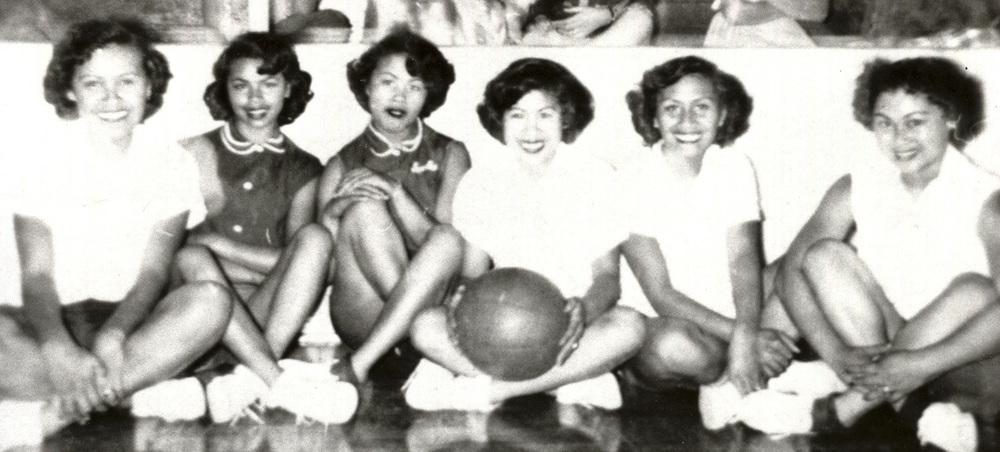 The Isleton LVM Youth Club girls basketball team from the Delta country of California.  Inter-community competition among girls began in the early 1950s. (Photo courtesy of Peter Jamero)