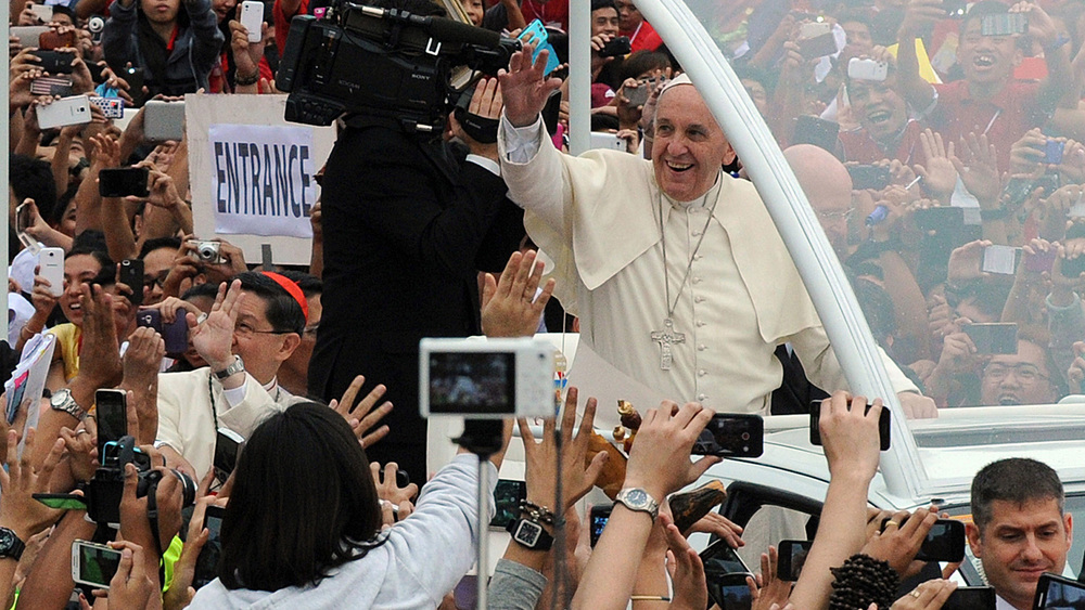 Pope Francis at the University of Santo Tomas in Manila (Photo by Jay Directo/AFP/Getty Images)