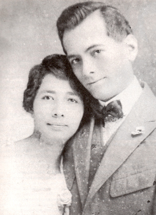 "Manuel and Aurora Quezon on their wedding day (Source: ""Kasalan"" by Pitoy Moreno)"