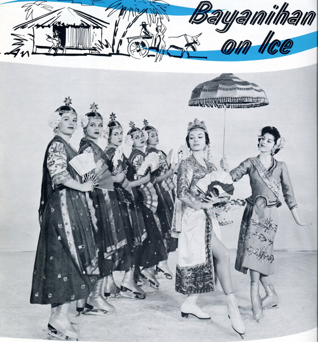 "Singkil on the rocks, danced by Caucasian skaters. Cover of the souvenir program, ""Ice Capades"" 1961. Would the Abu Sayaf have approved? The Philippine Dance suite, premiered in Atlantic City, New Jersey in September 1961 and toured the USA that season. (Photo courtesy of ""Ice Capades"")"