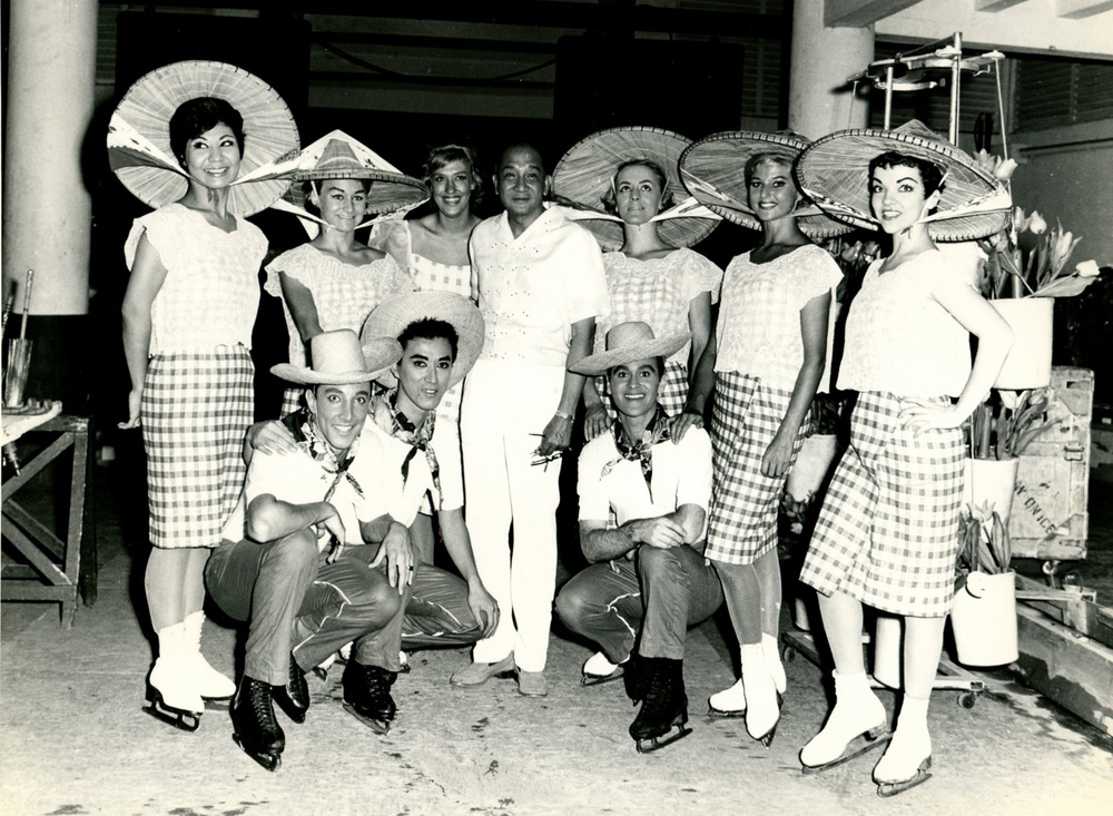 "The 1962 edition of ""Holiday on Ice"" at the Araneta Coliseum, with the added ""Salakot"" number, later in the run. The man in white outfit in the center is Mr. Big Dome presenter himself, J. Amado Araneta, with some of the ""Filipinized"" skaters. (Photo courtesy of Roy Blakey)"
