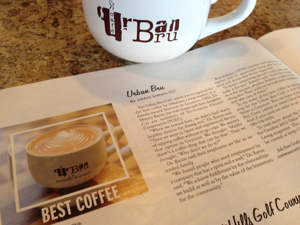 Barias Oklahoma Living: Urban Bru has perfected the art of the perfect coffee brew, as judged by Oklahoma Living, a lifestyle magazine of the state. (Source; Susan Barias' facebook page)