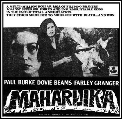 "Advertisement for the big-screen treatment, which Nanoy Ilusorio produced for his Boss to set Ferdinand Marcos' war-record ""straight"" Paul Burke played ""Bob Reynolds"" (the supposed young Marcos role); and Dovie Beams as his love interest. (Source: https://nursemyra.wordpress.com/2010/09/01/a-little-dovie-told-me/)"