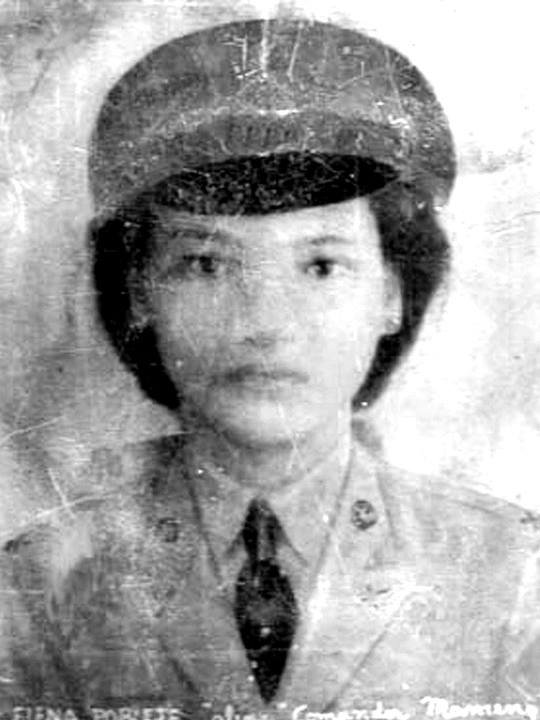 Elena Poblete a.k.a. Kumander Mameng, of Minalin, Pampanga. Daughter of Huk commander Bernardo Poblete (Kumander Banal), she took a bullet during a battle with Japanese soldiers in WWII.