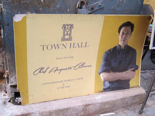 A poster of Chef Augusto Cabrera of Town Hall (Photo by Mona Lisa Yuchengco)