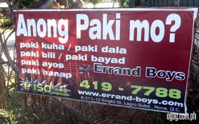 """Anong Paki Mo?"" Errand Boys (Source: facebook.com)"