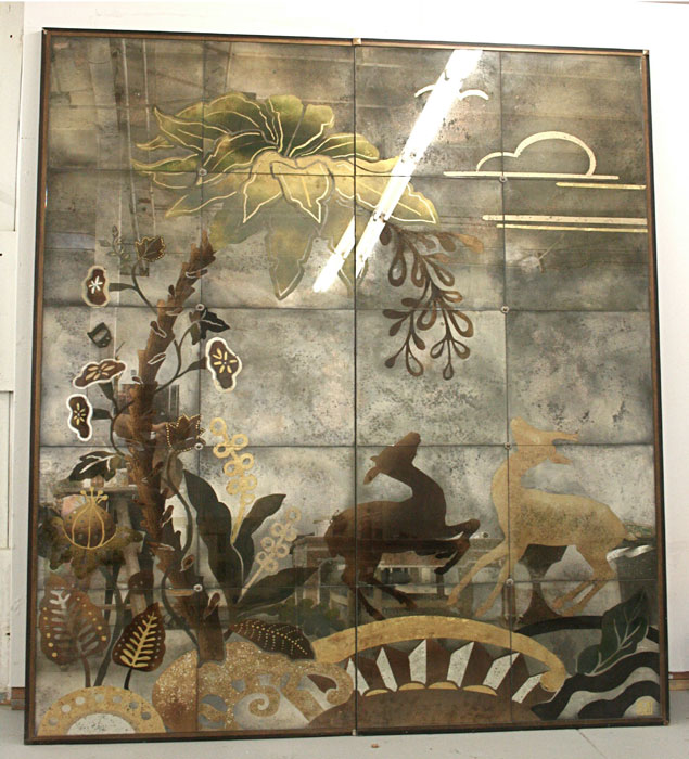 "Utopia , reverse-painted glass with precious metals and metal polychromes, 72"" wide x 96"" high (Photo by Maria Apelo Cruz  Jonavonic )"