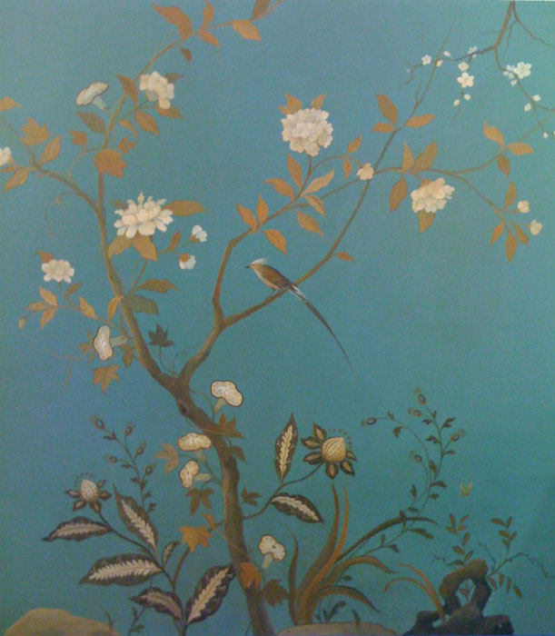 Hand-painted chinoiserie panel, which is part of a dining-room installation (Photo by C. Black)