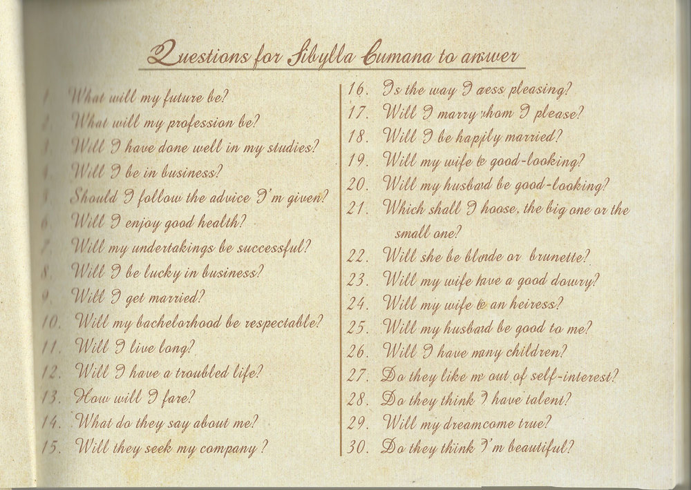 The questions one may ask the Sybil (translated to English)  (Scanned from   Jose Rizal's   Haec Est Sibylla Cumana   )