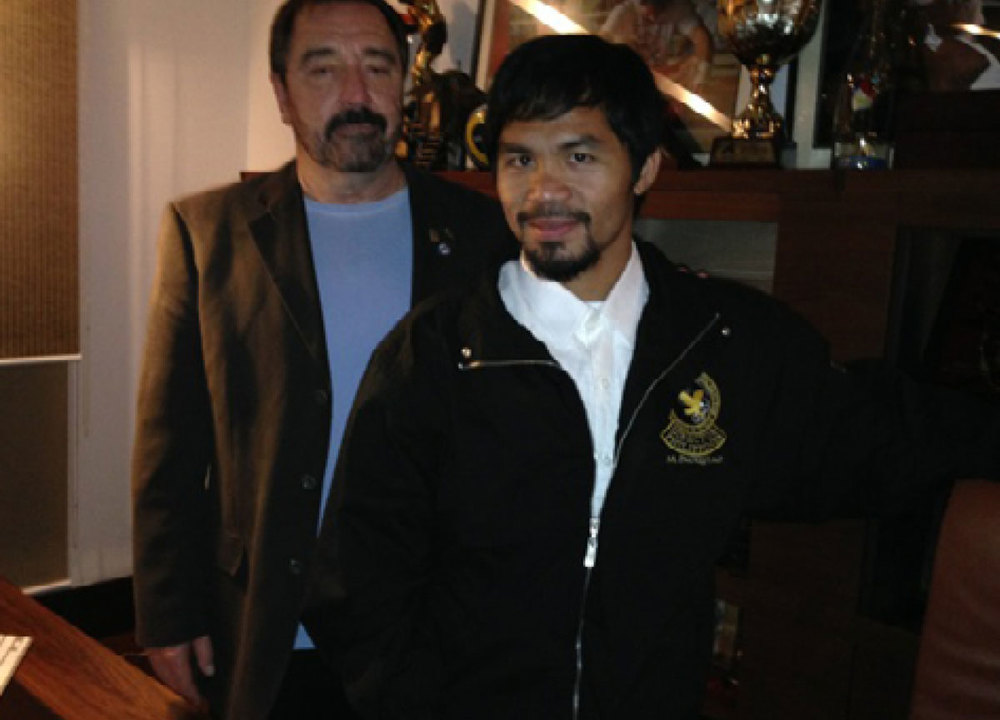 Clarke with Honorary Committee Chairman Manny Pacquiao (Photo courtesy of The Committee for the Return of the Bells)