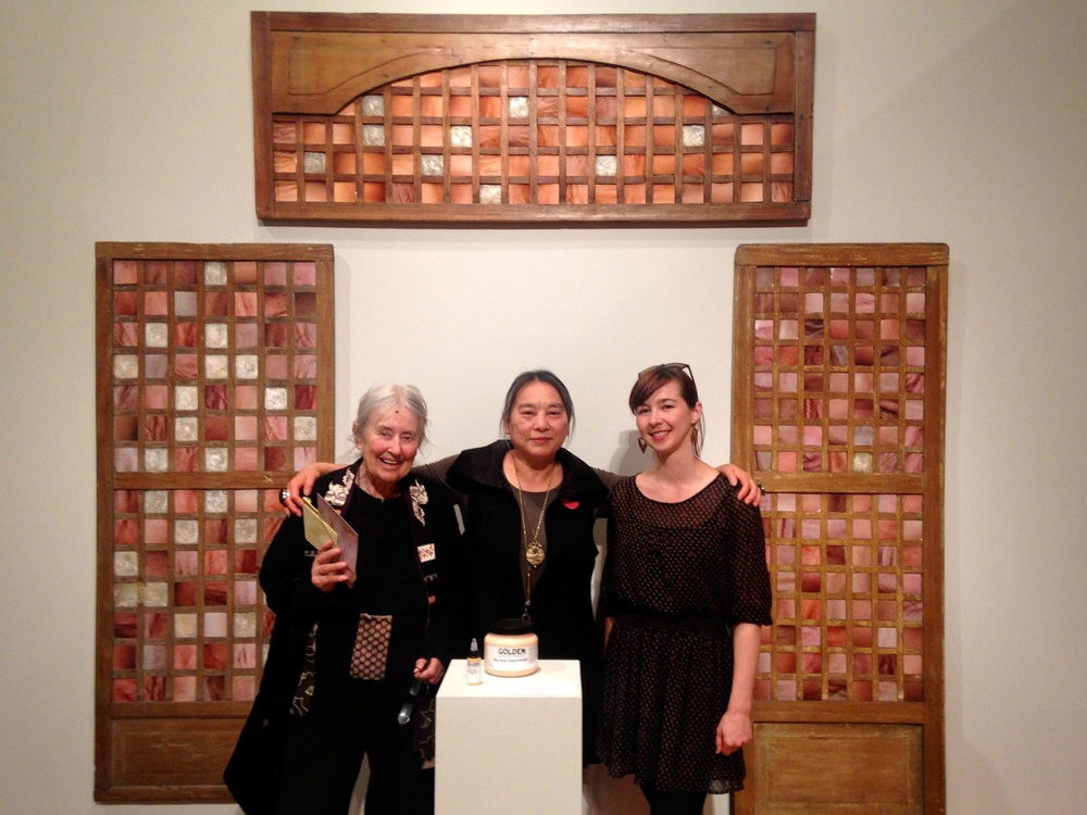 Art world stars at Mills (l to r): feminist art historian Moira Roth and painters Hung Liu and Yulia Pinkusevich in front of the capiz window installation (Photo by © France Viana)