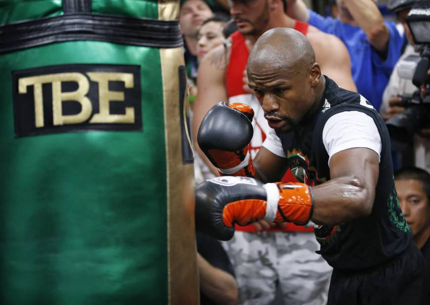 Mayweather training for the upcoming May 2nd fight with Manny Pacquiao (Source: AP)