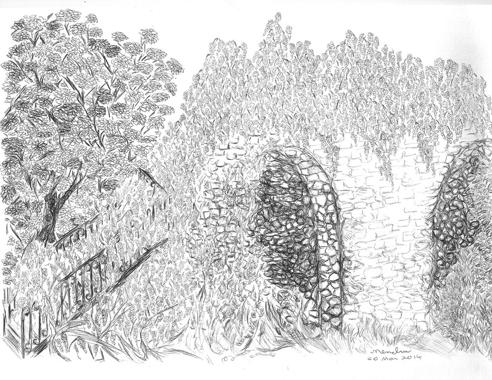 The author's ballpoint ink drawing of the stairway to the Maranese, the building behind the castle where other residents were housed.  (Illustration by Maria Carmen Sarmiento)