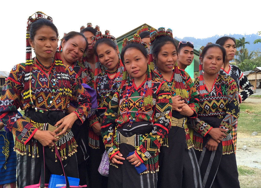 T'Boli women displaying their elaborate fabrics and embroidery (Photo by Patricia Araneta)
