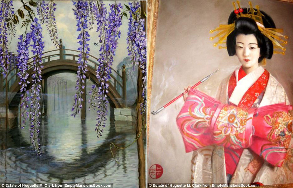 Two paintings by the rich and talented Huguette Clark. While they may never reach the zenith of French Impressionist works, these oil paintings show that Clark was not merely a rich, purposeless woman. She also had an enduring fascination with Japanese things and culture all her life—manifested by these paintings, her Japanese antique dolls, miniature house and temples collection which will reside at the Bellosguardo estate in Santa Barbara, California. (Source: Huguette Clark estate and  www.emptymansionsbook.com )