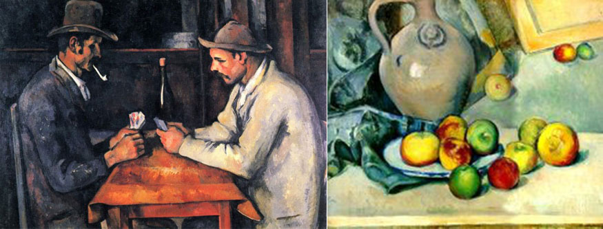 "(Left) ""The Card Players,"" bought by the state of Qatar for some $274 million in 2011, making it the second most expensive work of art in history. (Right) Huguette Clark's Cezanne. How much would it have brought had Hadassah accepted it and sold it after ""The Card Players"" sold?"