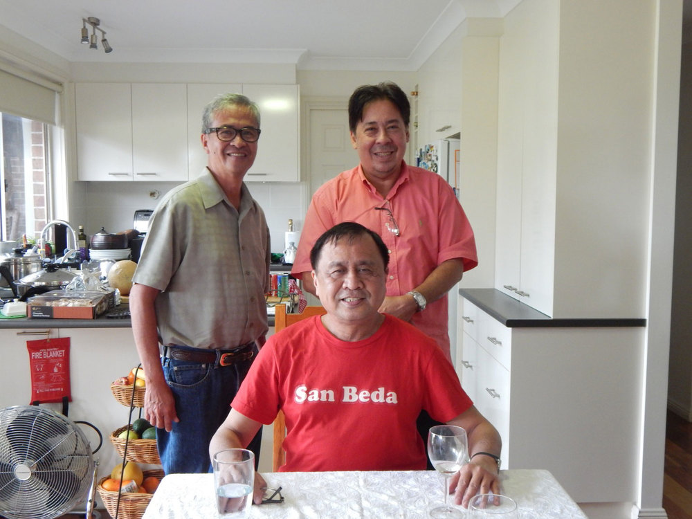 Seated: Rey E. de la Cruz. Standing: Tony Dominguez and Leody Martinez. (Photo by Maria Christine Dominguez)