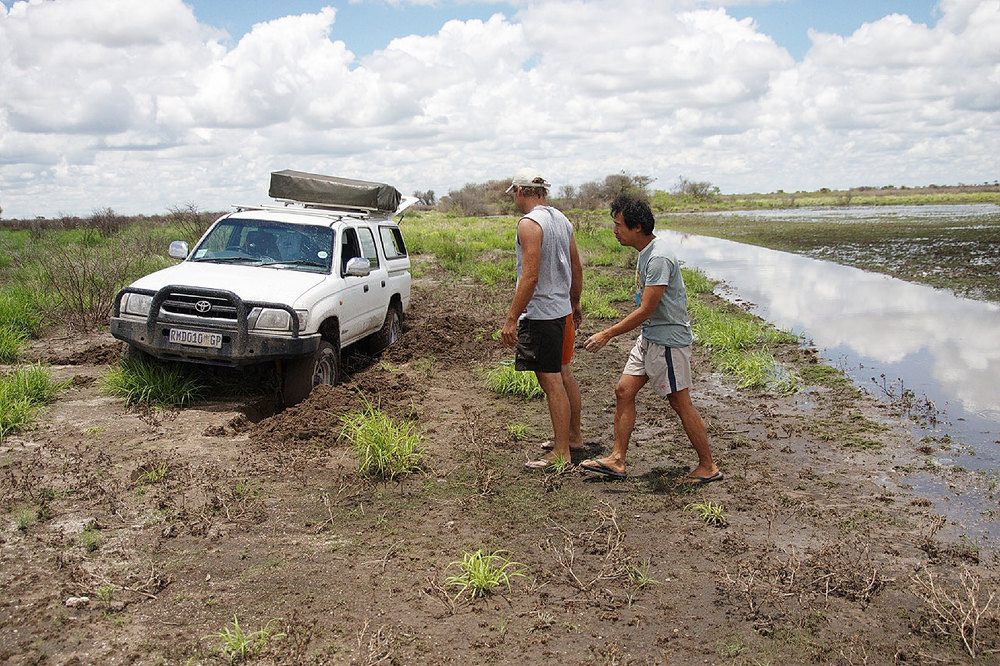 The hazards of self-driving in the Kalahari Basin in Botswana are plenty, but it's all part of the adventure. (Photo courtesy of Louie Hechanova)