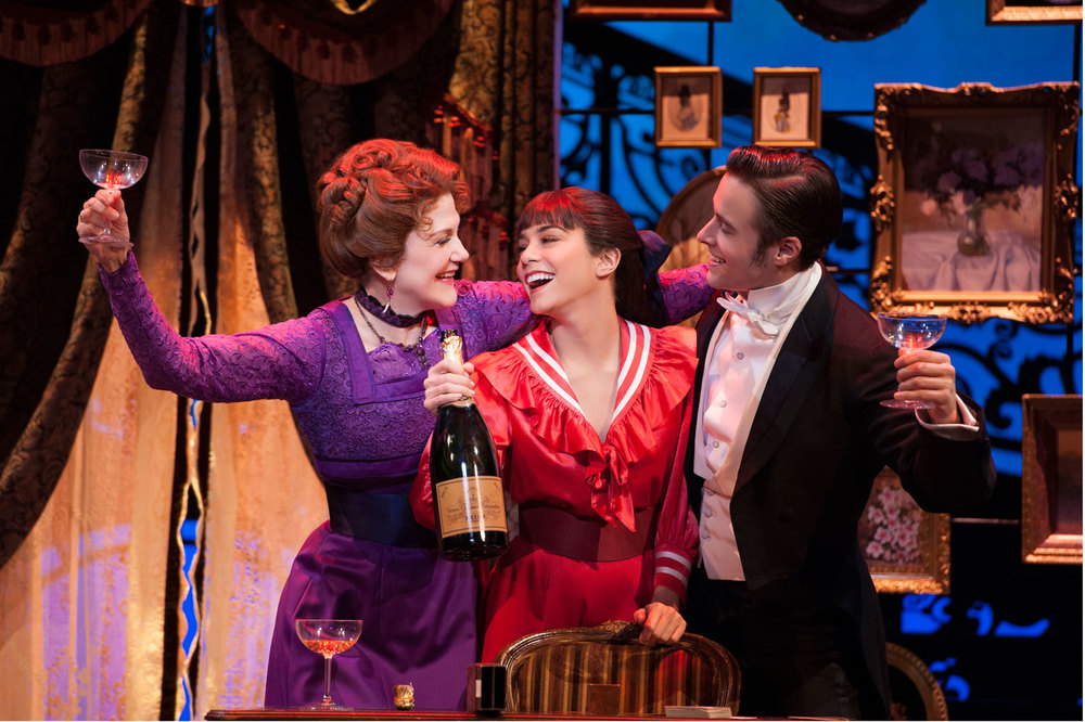 The three stars of GIGI 2015 – (l to r): Tony-nominated Victoria Clark as grandma Inez Alvarez; our own Vanessa Hudgens as Gigi Alvarez and Corey Cott as Gaston Lachaille (Photo by Margot Schulman)