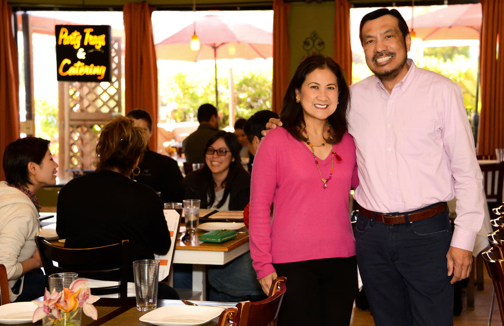 Patio Filipino manager and co-owner Tito Gonzales and his wife Tess are a constant presence at the popular San Bruno, California, restaurant. (Photo by Christian Thomas)