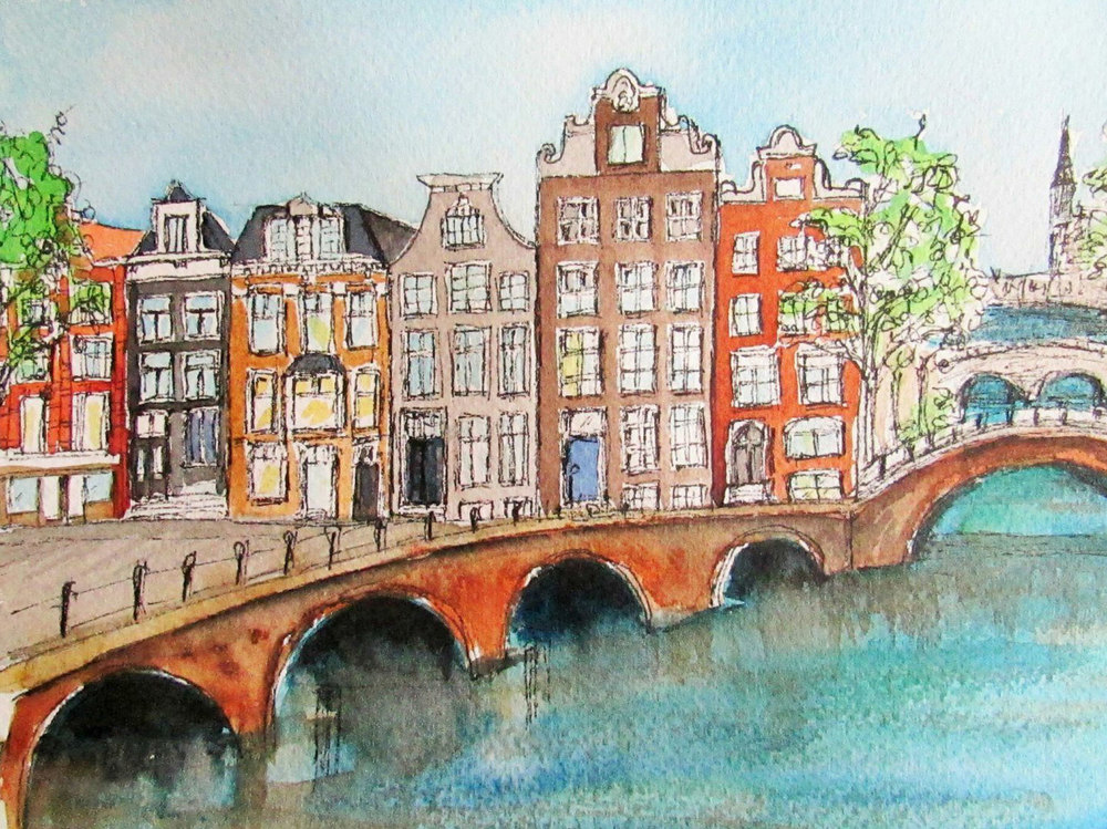 Houses along the Canal, Amsterdam (Illustration by Jojo Sabalvaro-Tan)