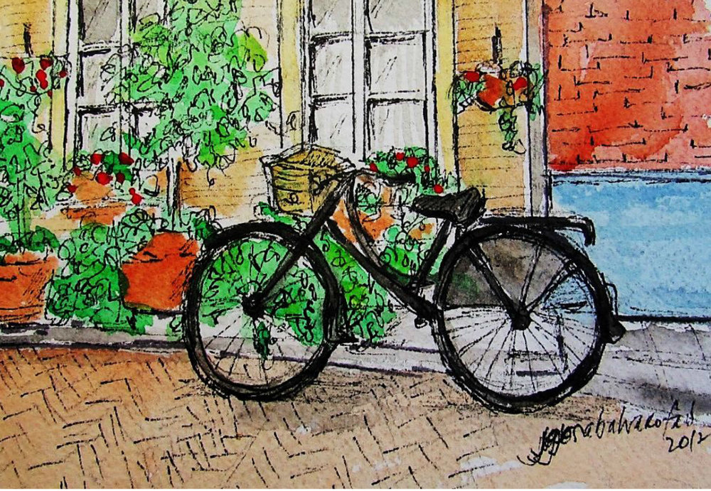 Bicycle - Delft (Illustration by Jojo Sabalvaro-Tan)