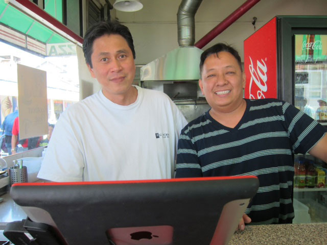 Jani Naval (left) and Glen Castro of Pizza Pete's in Balboa Beach, California (Photo by Mona Lisa Yuchengco)