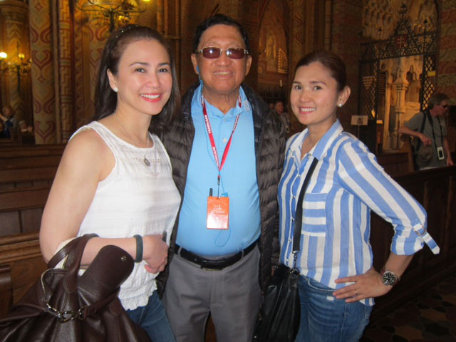 Nina Lopez (left) from Tarlac, Noy Pascual also from Tarlac and Grace Santos from Pasay City visiting The Matthias Church in Budapest. (Photo by Mona Lisa Yuchengco)