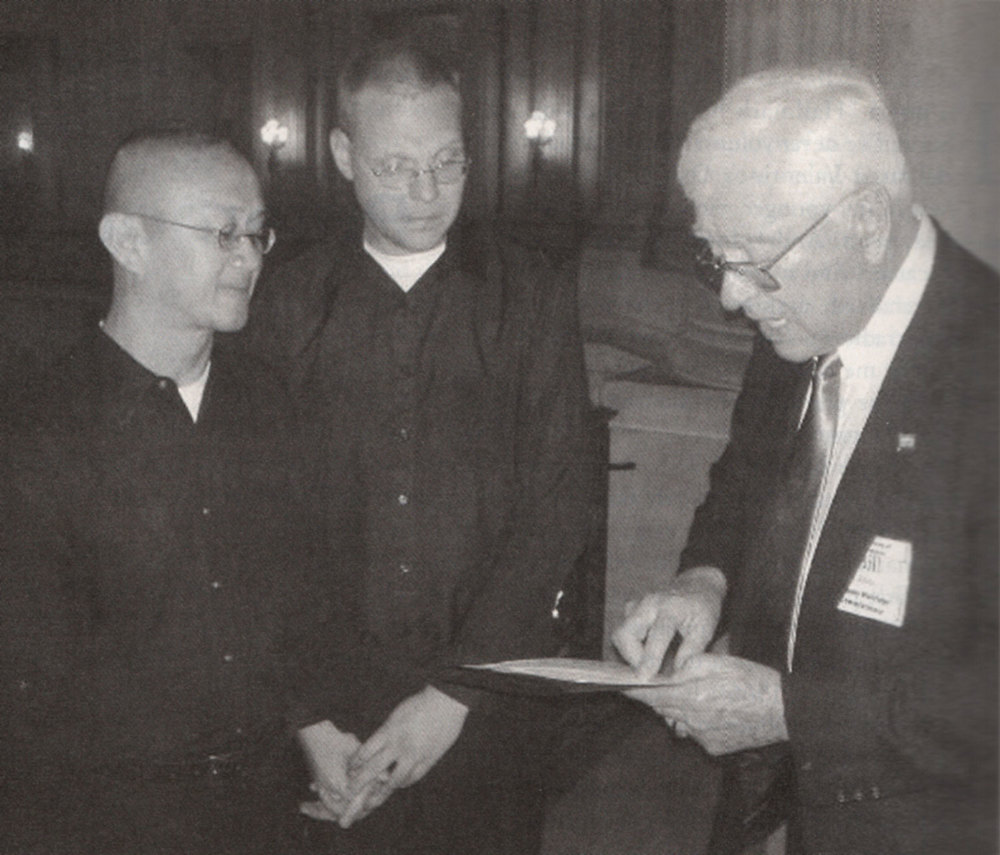 Rene Astudillo (left) and David Anthony Dezern's wedding ceremony (middle) (Source:  Filipinas Magazine,  June 2004. Photo courtesy of Rene Astudillo and David Anthony Dezern)
