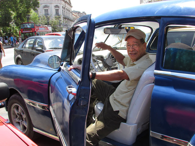 The author in a 1949 Pontiac (Photo courtesy of Chibu Lagman)