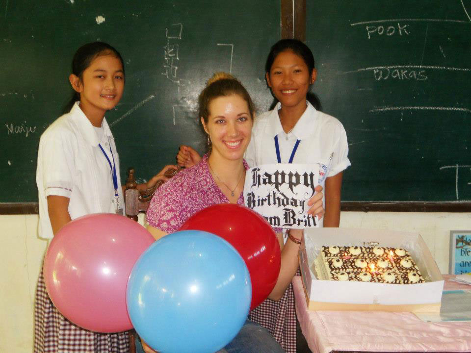 Hubbard gets a taste of Filipino hospitality in the form of a birthday cake presented to her by her students at Sual National High School. (Photo courtesy of Brittony Hubbard)