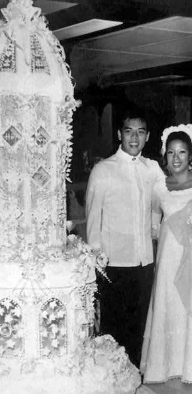 Gloria Y. Nichols created the wedding cake for daughter Maridel Menguito who married Leslie Anama. (Photo provided by Maridel Menguito Anama from the Gloria Nichols' family albums)