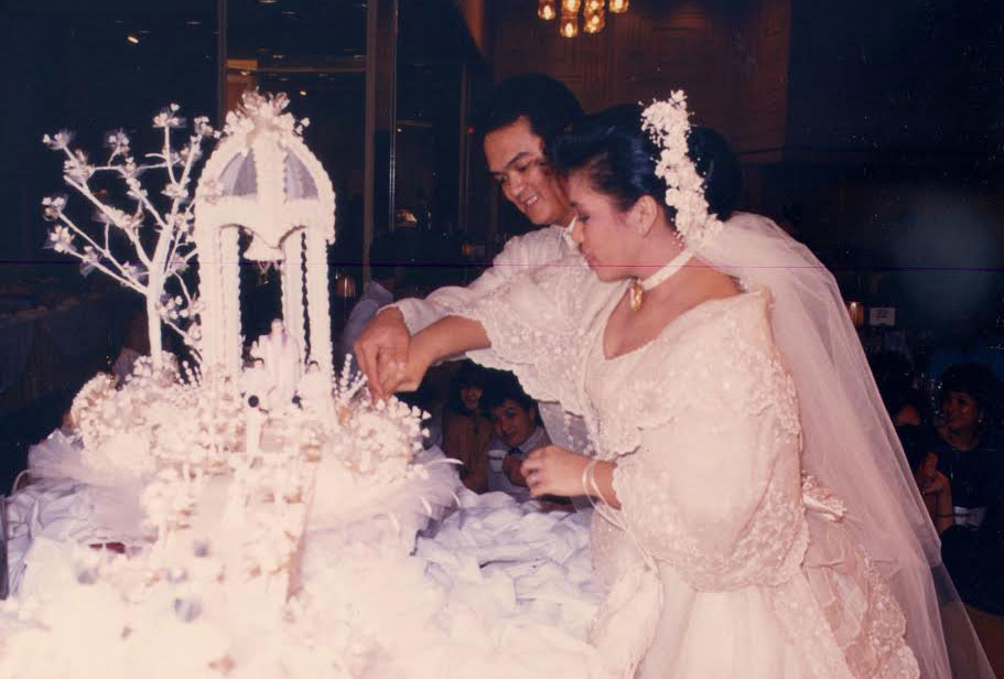 A cake from Gloria Nichols' The Rolling Pin Bakeshop was a signature piece at every wedding in the Philippines from the 1960s to the 80s. (Photo provided by Maridel Menguito Anama from the Gloria Nichols' family albums)