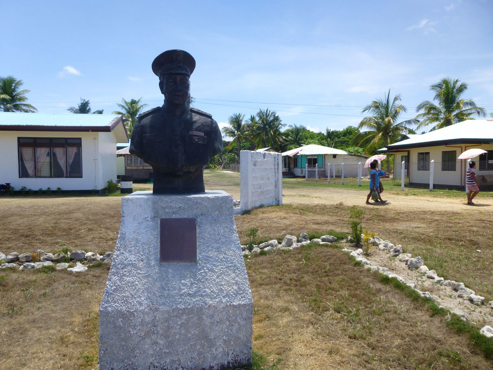 The statue of Tomas Cloma, a self-styled admiral who claimed Pag-Asa as part of the Philippines in the Spratlys chain he called 'Kalayaan,' meaning Freedom. (Photo by Criselda Yabes)