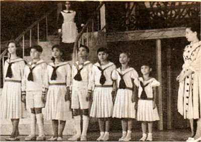 "A scene from the highly successful St. Paul Manila's stage production of ""The Sound of Music"" directed by Fr. James B. Reuter in 1964, a year before the Hollywood film came out. That's June Keithley, far right, as the novice-nanny Maria Rainier; Tina Santos (first, left) as the oldest daughter, Liesl. Another notable casting in that 1965 production:  Cristina Castañer-Ponce-Enrile played the Mother Superior.  This was the second set of ""Filipino"" von Trapps to set foot on a Manila stage; and the Rodgers and Hammerstein's favorite would return again in even grander, more professional stagings in 1980 and 2012. (Source: http://www.paulinians.com/files/100hymn.htm)"