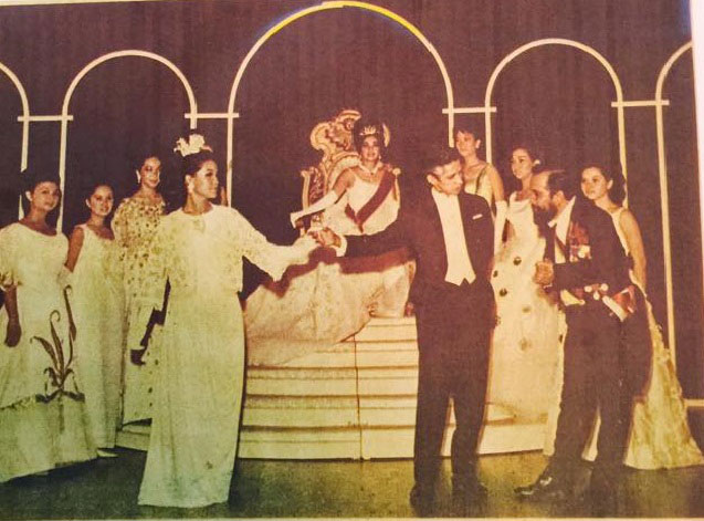 "A ""live"" ""My Fair Lady"" came to Manila in 1965 via Fr. Jim. Above, the ballroom scene where Professor Henry Higgins (Nick Lizaso) presents Eliza Doolittle (Chloe Cruz-Romulo) to ""linguistics expert"" Zoltan Karpathy (Tony Manuud) at the Ball for the Queen of Transylvania (Cristina Caedo Galang). Performers pretty much paid for their own costumes, especially the elegant Ascot and Ball outfits, and thus there was a profusion of styles and periods in the ""upper class"" scenes. The author was in the rowdy bar scenes and was the senior Mrs. Higgins' driver at Ascot. Butz Aquino played Eliza's father and Gary Lising played one of his sidekicks. Once again, the Manila Symphony Orchestra was hired and played under the baton of Ed Mattos. (Photo courtesy of Nick Lizaso)"