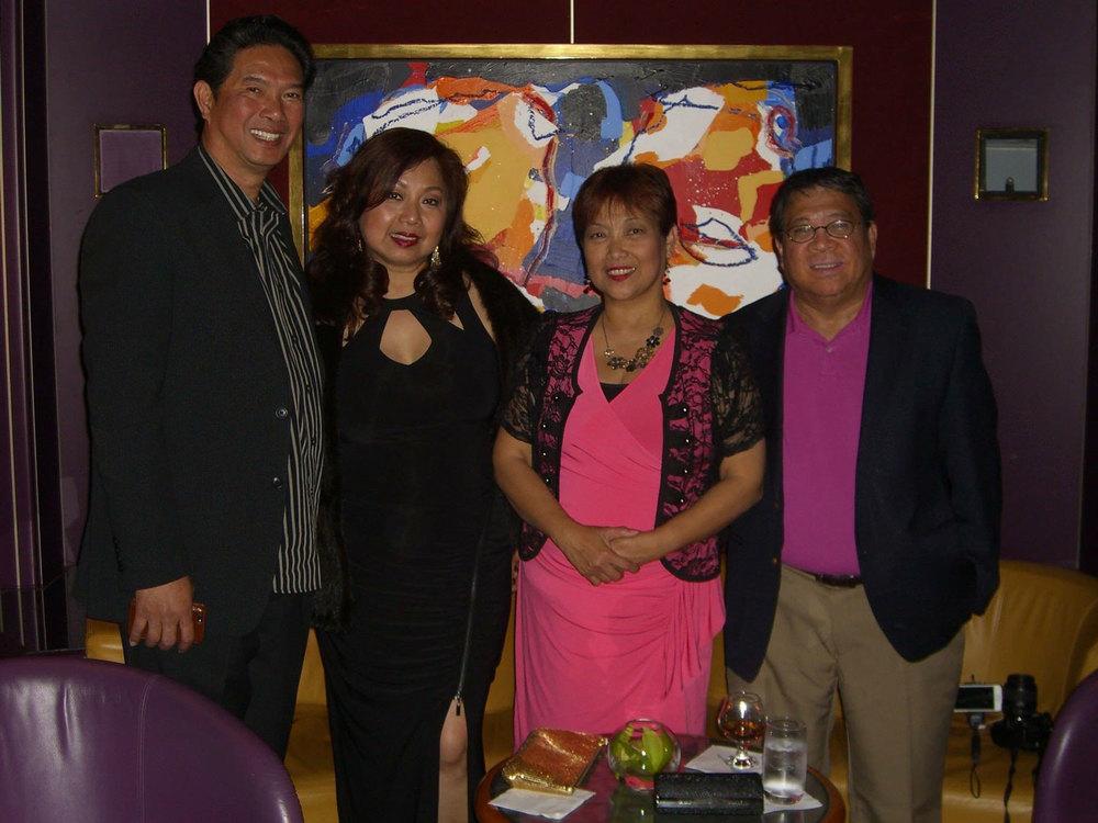 From left to right: Joe Santos, Lynn Gabriel-Santos, Mina Quitasol & Jun Quitasol at The Piano Bar inside Holland America's Eurodam (Photo courtesy of Joe Santos)