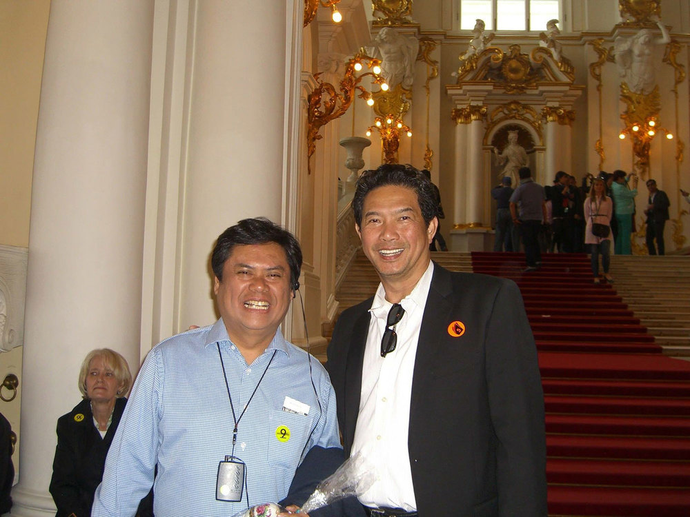 Tammy Tantoco with Joe Santos inside the Hermitage Museum, St. Petersburg, Russia  (Photo courtesy of Joe Santos)