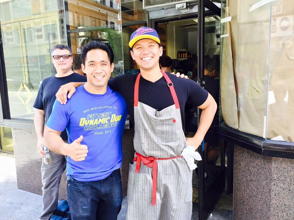 In the front are owner Santos Uy and Chef Charles Olalia. In the back is Ned Teitelbaum (Photo by Jean Baptiste Dhalluin)
