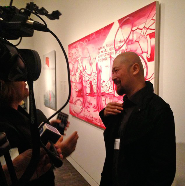Manuel Ocampo at the press preview of First Look (Photo: © France Viana. Artwork: © Manuel Ocampo, courtesy of Asian Art Museum of San Francisco)