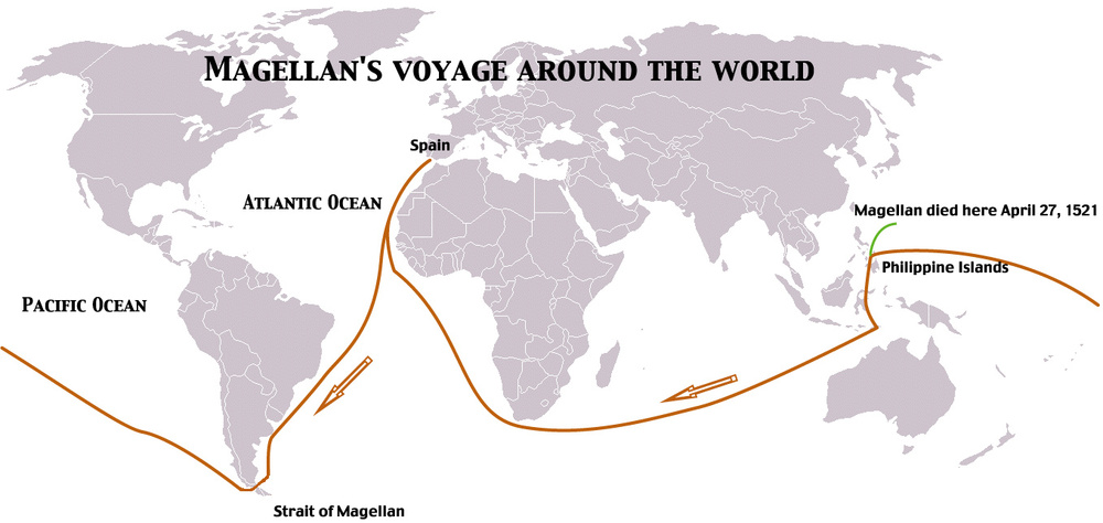 Magellan's expedition around the world (Source: wikimedia.org)