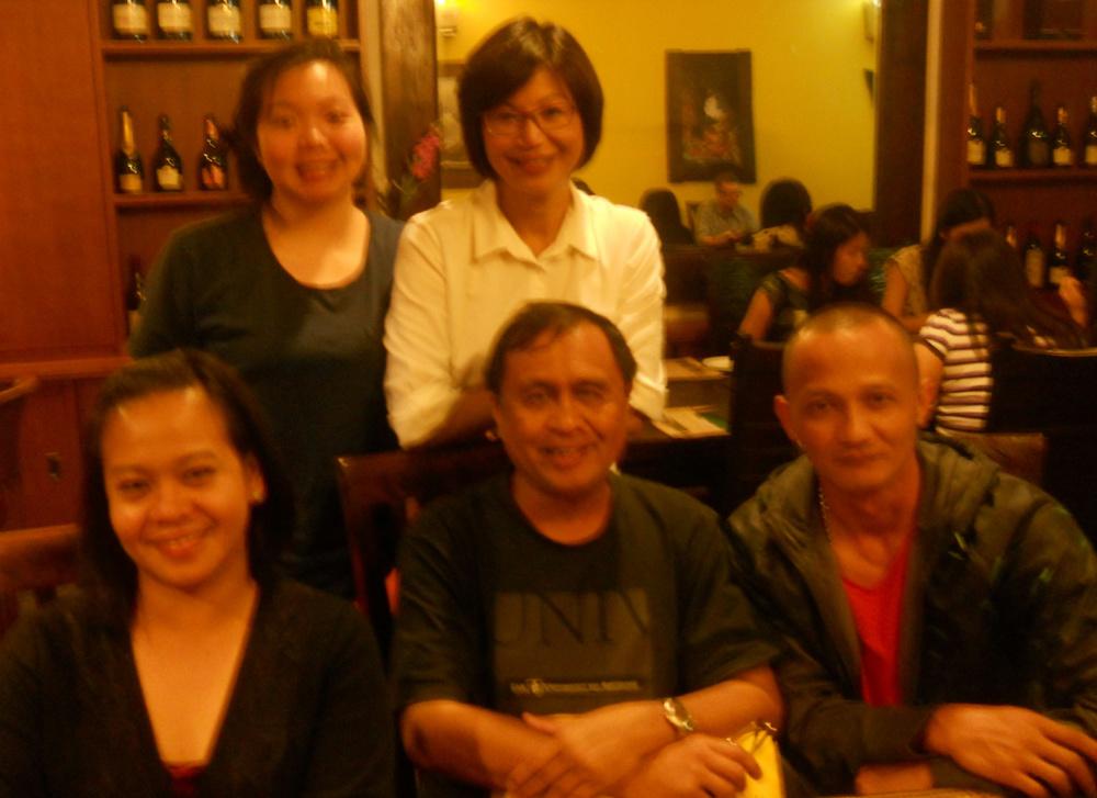 Standing: Tiffany Chua, and Candy Wong. Seated: Maria Theresa Sadio Basilisco, Rey E. de la Cruz, and Jojo Basilisco. (Photo by David Chua. Photo editing by Ivan Kevin Castro)