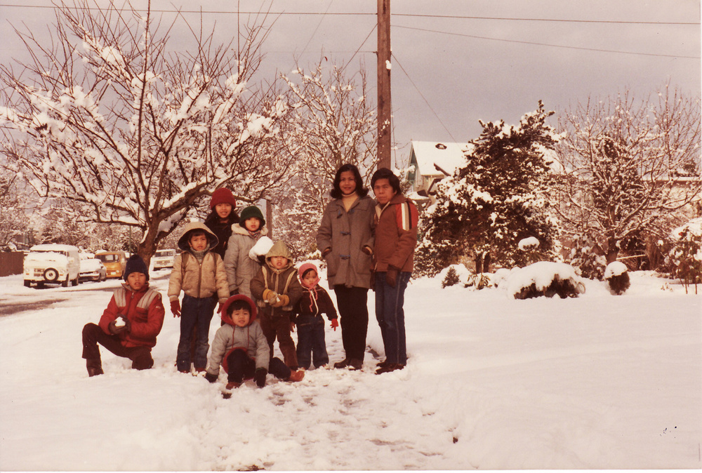 SYM with wife Ely and seven children, 1981 in Canada (Photo is courtesy of Ely Mendoza)